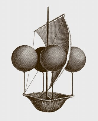 Plakat Historic flying ship, an aeronautic machine by Francesco Lana Terzi from 1670. lllustration after an engraving from the early 19th century. Editable in layers
