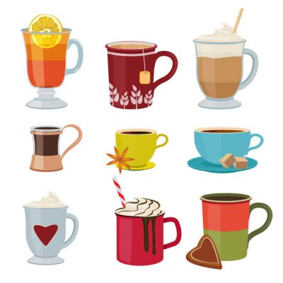 Plakat Hot drinks. Warm mugs tea coffee cocoa mulled wine vector collection cartoon pictures. Illustration winter hot cocoa, warm coffee or chocolate