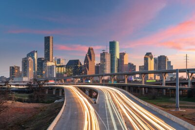 Plakat Houston, Texas, USA Downtown Skyline over the Highways