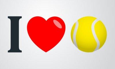 Plakat Icono plano kocham tenis kolor en fondo degradado