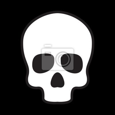 ikona czaszki wektor logo kości Halloween ilustracji charakter czarny