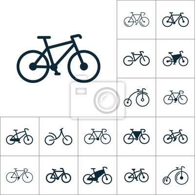 Plakat Ikona rower, zestaw rower na białym tle