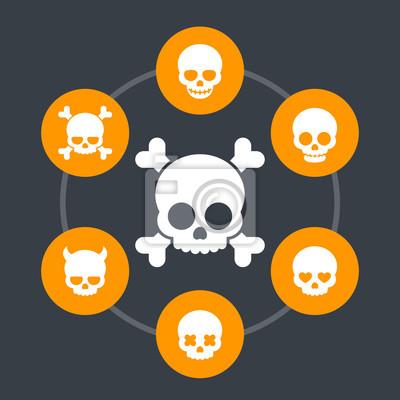 ikony czaszki, kości, diabeł, diabeł, kochanka, uśmiechniętą czaszkę, groźnie piktogramów, ilustracji wektorowych