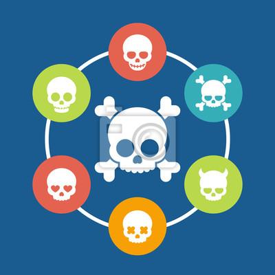 ikony czaszki, kości, diabeł, diabeł, kochanka, uśmiechniętą czaszkę, ilustracji wektorowych