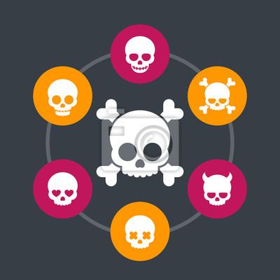 ikony czaszki, kości, diabeł, diabeł, serce w kształcie oczu, w miłości, uśmiechnięty czaszkę