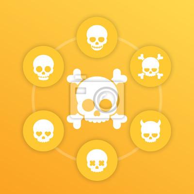 ikony czaszki, kości, diabeł, oczy w kształcie serca, zakochany, uśmiechnięta czaszka, piktogramy na żółto