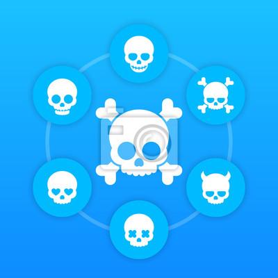 ikony czaszki, kości, diabeł w kształcie serca oczy, w miłości, uśmiechnięte czaszki, straszne piktogramów na niebiesko