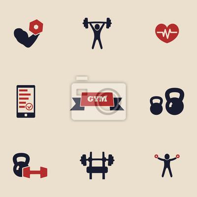 Ikony siłownia i fitness