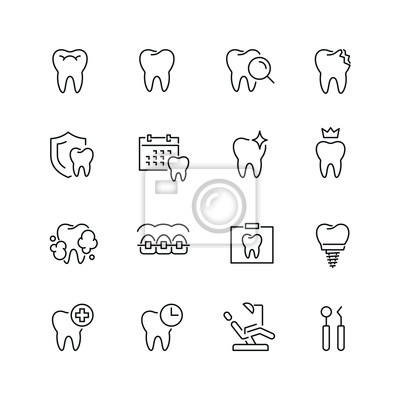 Plakat Ikony związane z zębami: cienki wektor zestaw ikon, zestaw czarno-biały