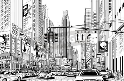 Plakat Illustration of a street in New York city