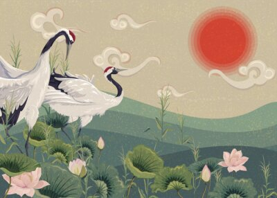 Plakat Illustration with Japanese cranes in the lake at sunset