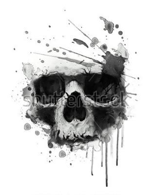 Plakat Ilustracja akwarela czaszki