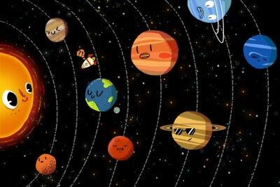 Plakat Ilustracja dla dzieci: The Happy planet w Układzie Słonecznym. Realistyczne Fantastic Cartoon Style Artwork / Story / Scena / Tapety / Tło / karty Projektowanie.