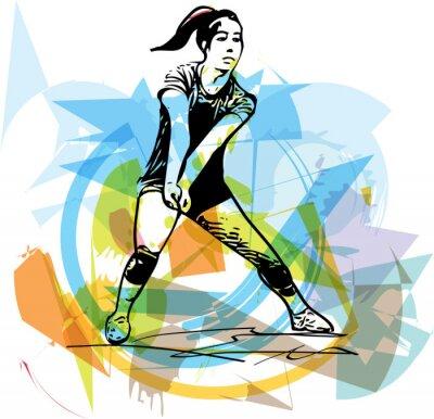 Plakat Ilustracja do siatkówki gracza gry