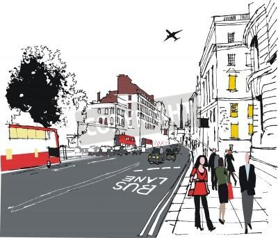 Plakat Ilustracja dojeżdżających na londyńskiej ulicy miasta