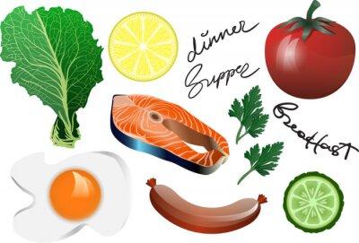 Ilustracja jedzenie: Stek z łososia Set: Ilustracja wektorowa: Ryby