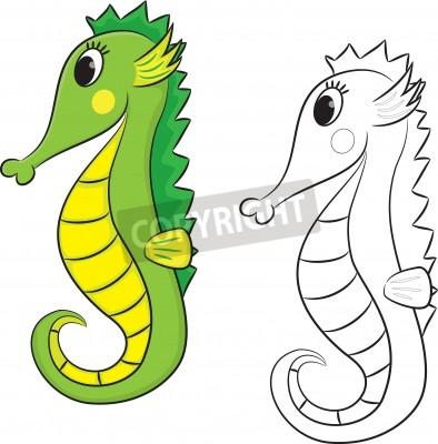 Ilustracja Kreskowka Koniki Morskie Kolorowanka Strona Wektor