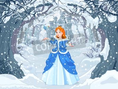 Plakat Ilustracja księżniczka z ptakiem blisko do Magic Winter Castle