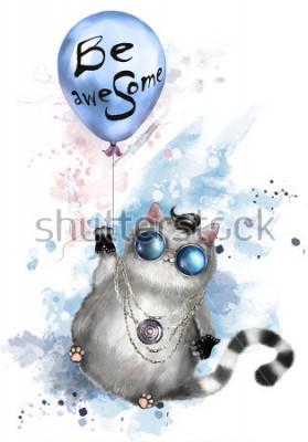 Plakat Ilustracja ładny kot w stylu rocker, z okrągłymi okularami i biżuterią. Kot latający na balonie z napisem - lub niesamowity. akwarela farba splash. T-shirt, fajny nadruk.