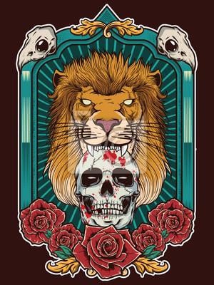 Plakat ilustracja lew z czaszki i heraldyczne tło ramki