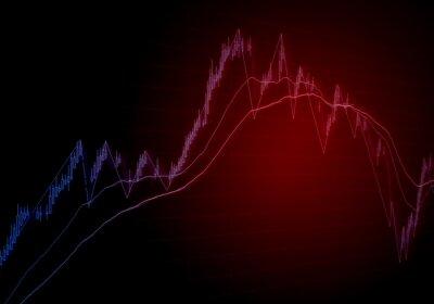 Ilustracja ruchu wykresu giełdowego. Czerwony wykres świecy i wskaźniki techniczne na ekranie pokazujące wzrost i spadek cen kapitału