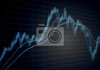 Ilustracja ruchu wykresu giełdowego. Niebieski wykres świecy i wskaźniki techniczne na ekranie pokazujące wzrost i spadek cen kapitału