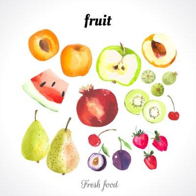 Plakat Ilustracja wektora z akwareli żywności.