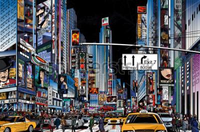 Plakat Ilustracja wektorowa ulicy w Nowym Jorku w nocy
