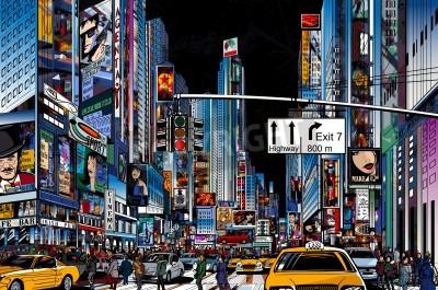 Plakat Ilustracja wektorowa z ulicy w Nowym Jorku w nocy