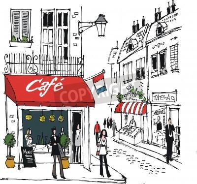 Plakat Ilustracja z francuskiego miasteczka sceny ulicznej kawiarni