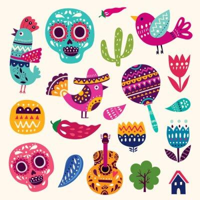 Plakat Ilustracja z symboli Meksyku