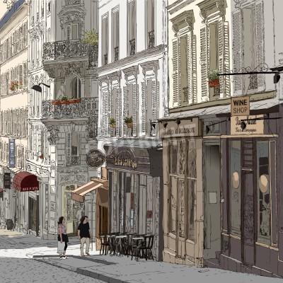 Plakat Ilustracja z ulicy w Montmartre w Paryżu