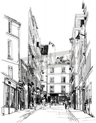 Plakat Ilustracja z ulicy w pobliżu Montmartre w Paryżu