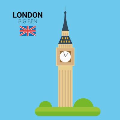 Plakat Ilustracji wektorowych Big Ben (Londyn, Wielka Brytania). Zabytków i atrakcji Collection. EPS 10 plików kompatybilnych i edytowalne.