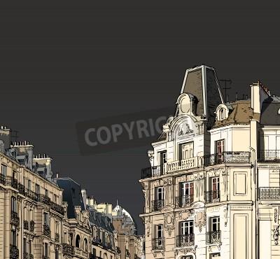 Plakat Ilustracji wektorowych fasad w Paryżu w sztormowej pogody