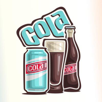 Plakat Ilustracji wektorowych na temat logo dla cola, składający się z puszki z colą, szklane wypełnione cola i zamkniętej szklanej butelce coli