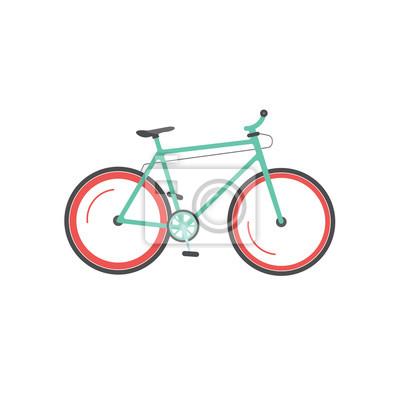 Plakat ilustracji wektorowych rowerów na białym tle, styl mieszkania rower górski sportowy poruszająca, ikona cyklu