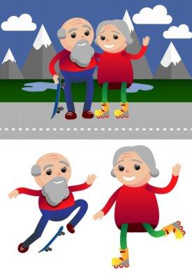 Ilustracji wektorowych sportowe osoby zdrowe i działania rekreacyjne stare