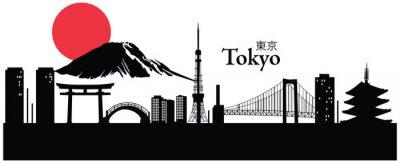 Plakat Ilustracji wektorowych z pejzaż Tokio, Japonia