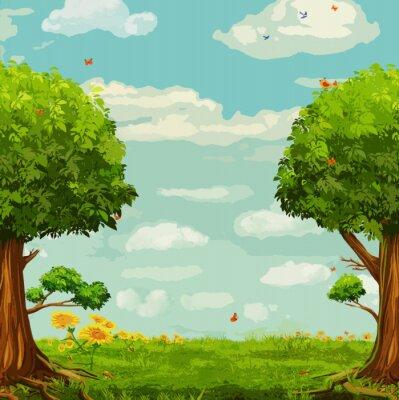 Plakat ilustracji wektorowych z pięknym lesie sceny z drzew i niebo
