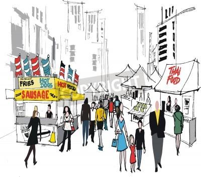 Plakat Ilustracji wektorowych z rynku ulicy w Nowym Jorku.