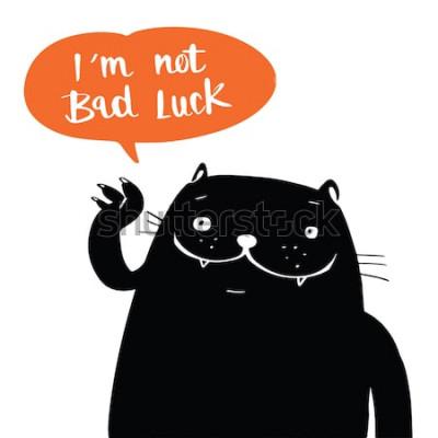 Plakat Ilustracyjny wektorowy doodle styl czarny kot i ja nie jestem pechem w balonowej mowie, kreskówka projekt.