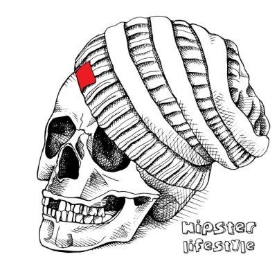Image of the skull in the knitted hipster hat. Black and white. Vector illustration.