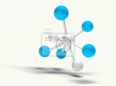 imagen 3d de estructura molekularnej aislada en blanco