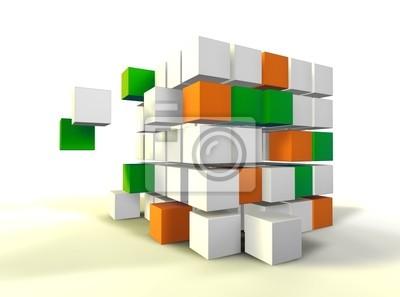 imagen 3d de FORMACION de cubos aislados en blanco