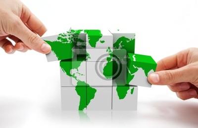 imagen koncepcyjne con puzzle 3d y mapie del mundo