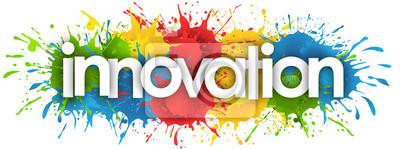 Plakat innovation word in splash's background