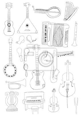 Instrumenty Muzyczne Plakaty Na ścianę Plakaty Klawiatury Banjo
