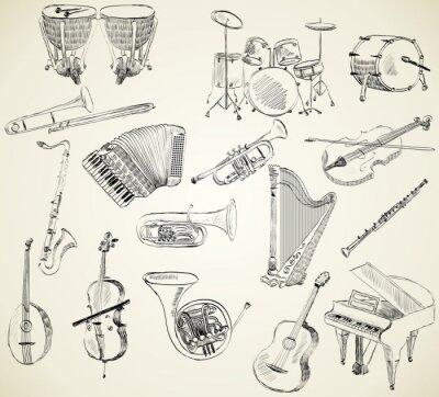 Instrumenty Muzyczne Plakaty Na ścianę Plakaty Kontrabas Lir