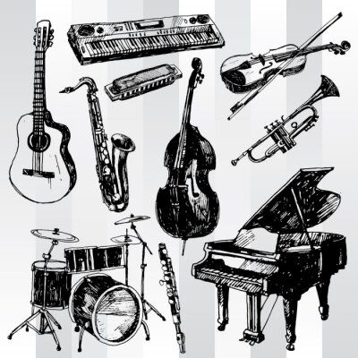 Plakat Instrumenty muzyczne Hand Drawn